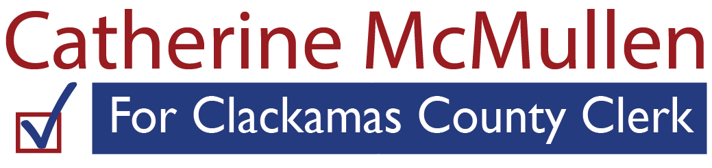 Catherine McMullen for Clackamas County Clerk with a blue check mark inside a red box
