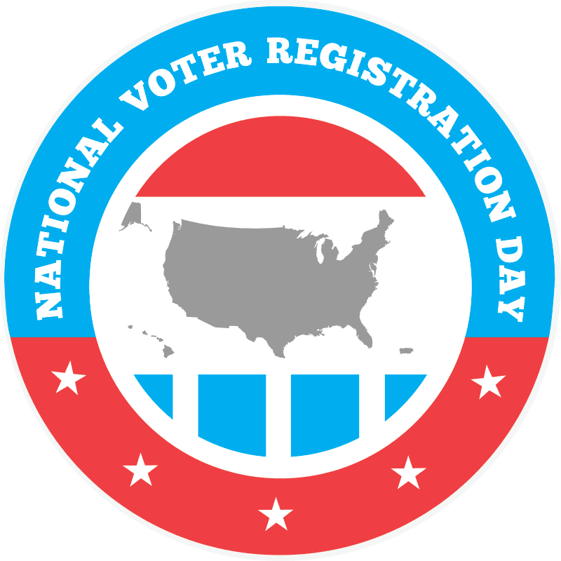 National Voter Registration Day Sticker. United states inside of a red white and blue circle.